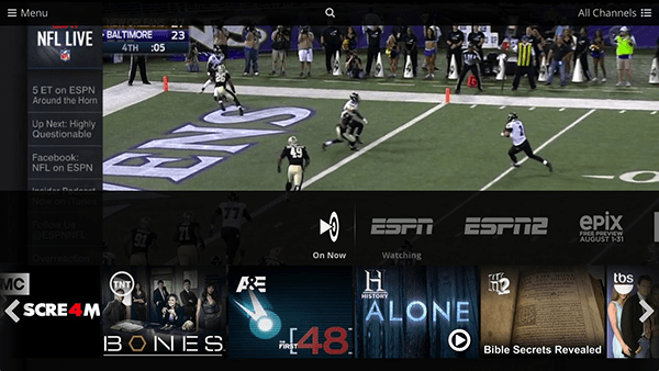 A view of Sling TV's channel-surfing abilities (screenshot from the Mac computer app)