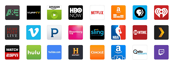 A partial list of available apps for Fire TV