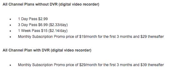 USTV Now pricing