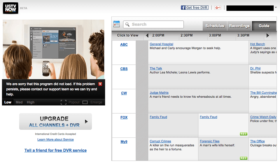 USTVnow's browser interface