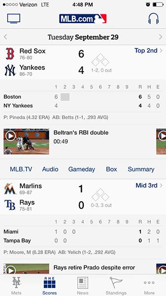 The MLB At Bat app for iOS