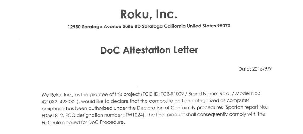 Roku DoC Letter