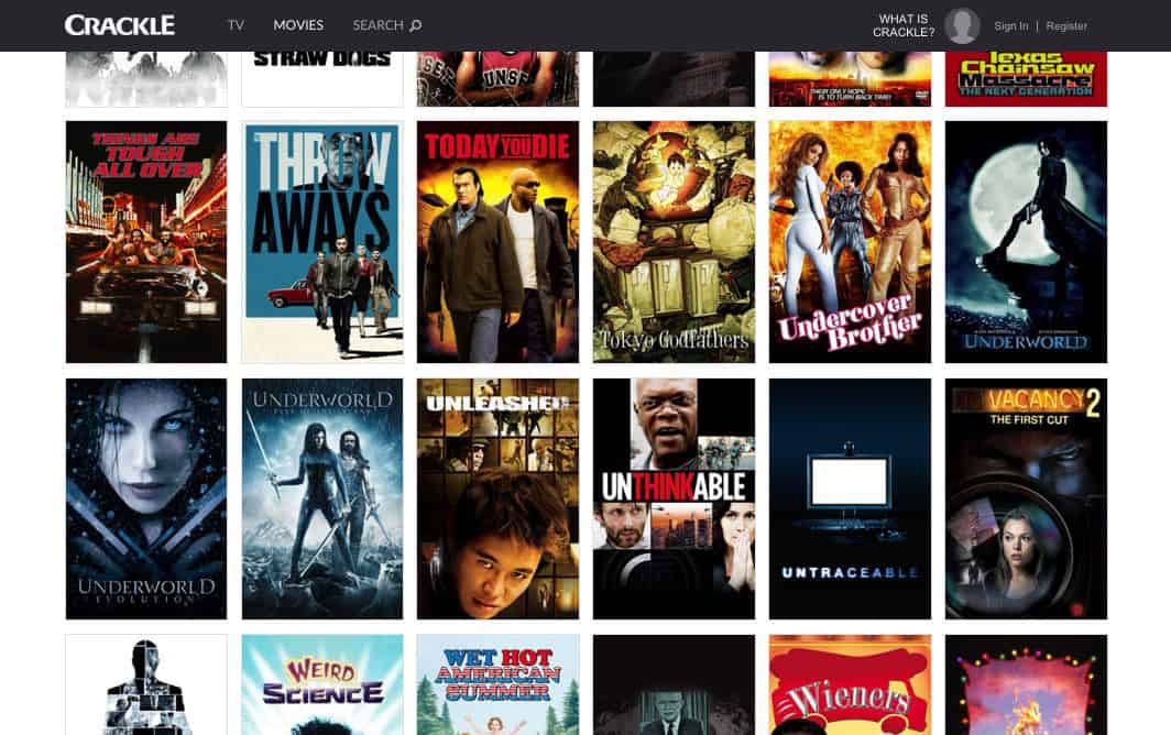 A look at Crackle's film selection (this screenshot is from the web app)