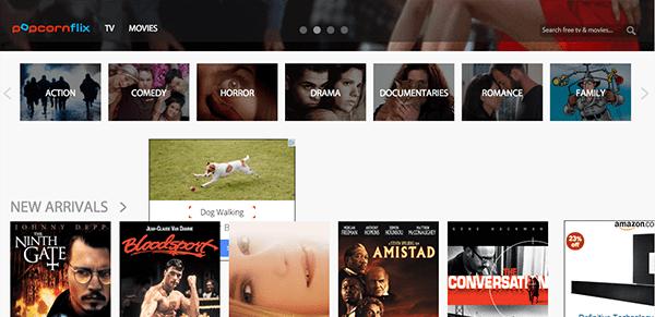 Popcornflix running through the web app