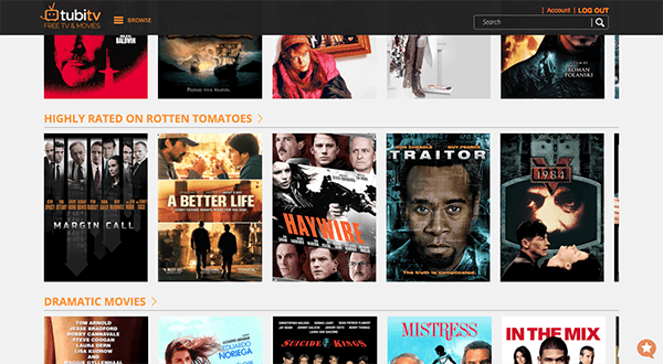 Tubi TV's web app interface