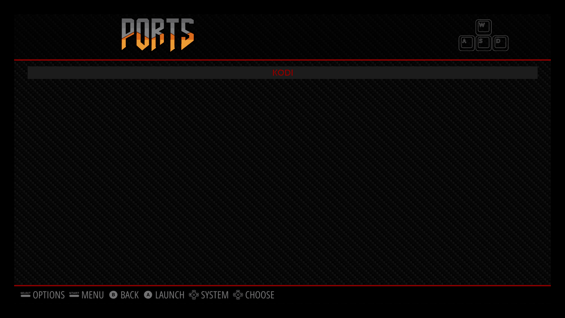 Kodi on RetroPie - Ports menu