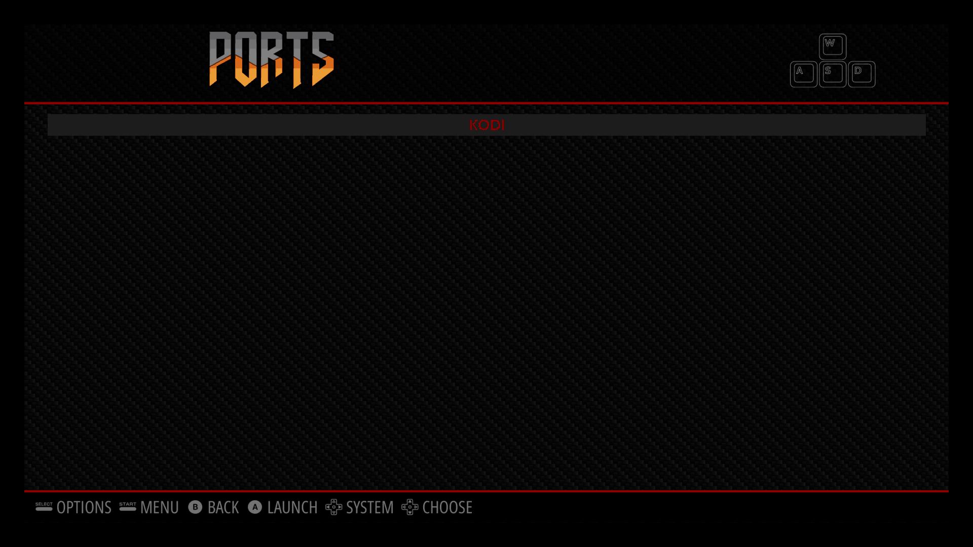Kodi on RetroPie - Ports menu
