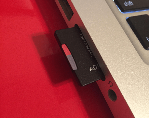 SD card in slot