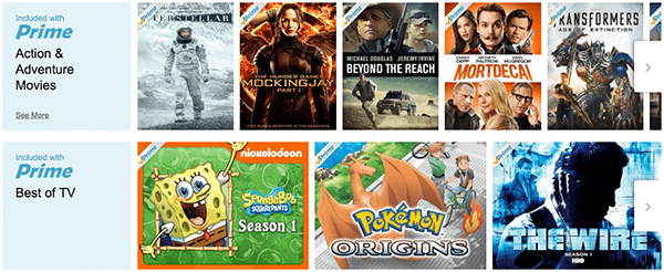 A small sample of Prime's selection, as seen on Amazon's website.