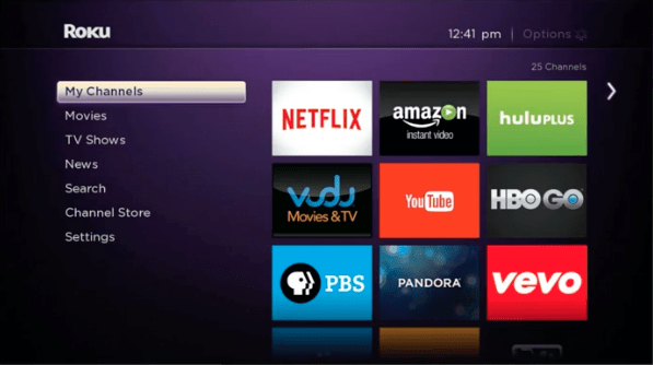 Roku's interface. We borrowed this image from their site, since there's no easy way to take screenshots on a Roku stick.