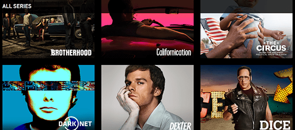 A sampling of Showtime's original content, as seen in the web app