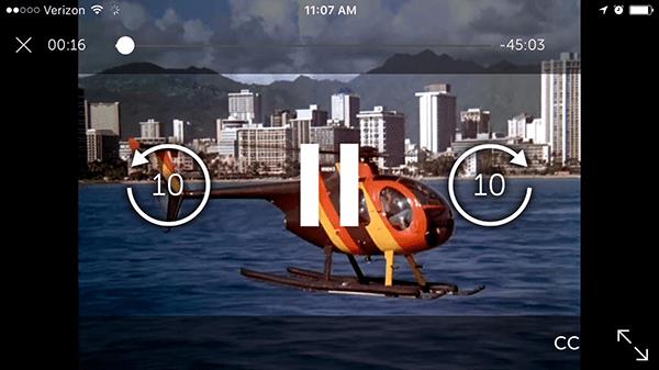 Starz's on-screen controls (screenshot from iOS)