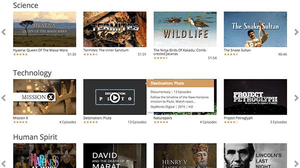 A sampling of CuriosityStream's catalog (screenshot is from the web app)