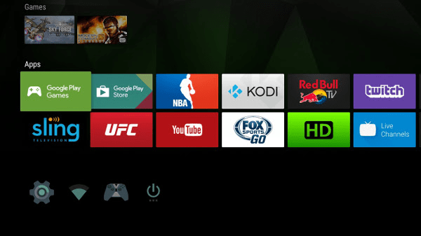 Nvidia SHIELD home screen