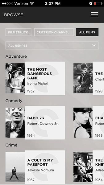 FilmStruck on iOS