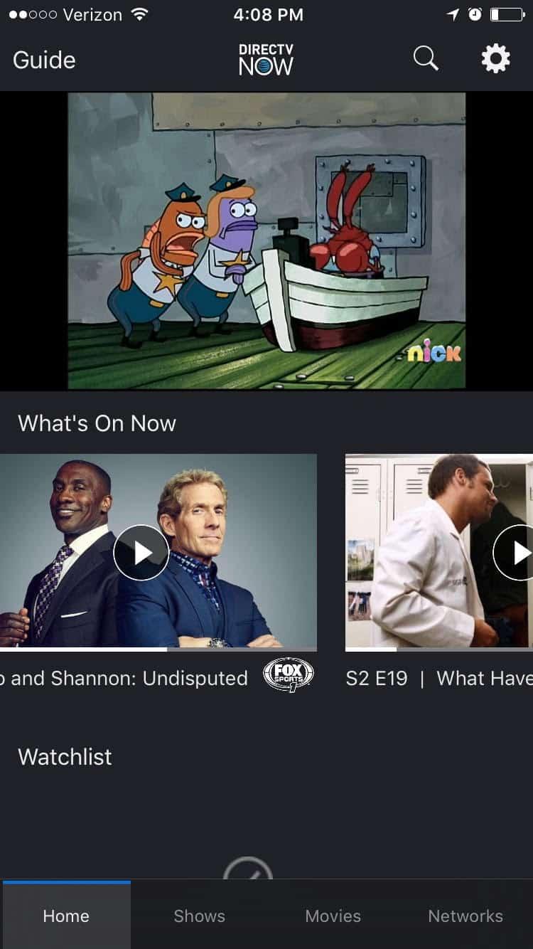 DirecTV Now on iPhone