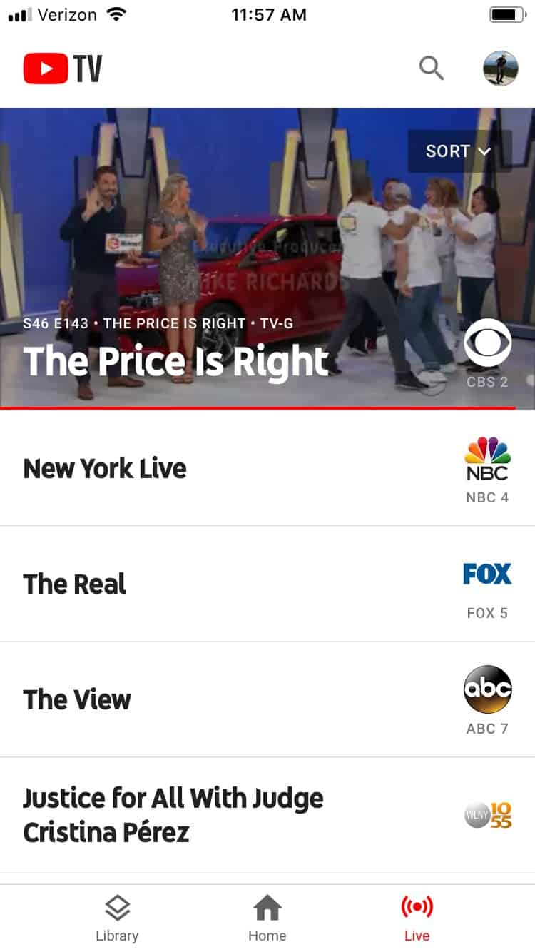 YouTube TV Review - YouTube TV channels as seen on the iOS app