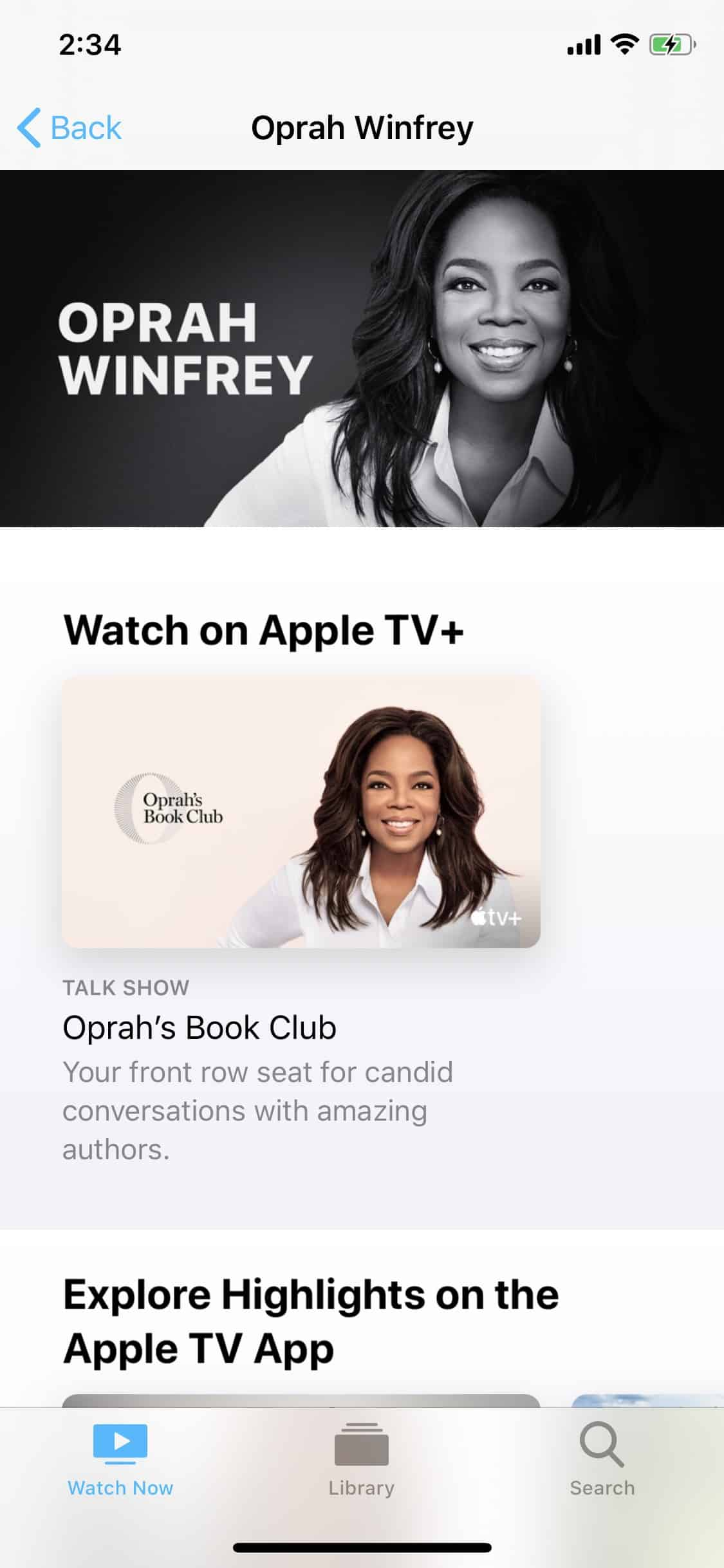 Stars pages on the Apple TV app (screenshot from iOS app)