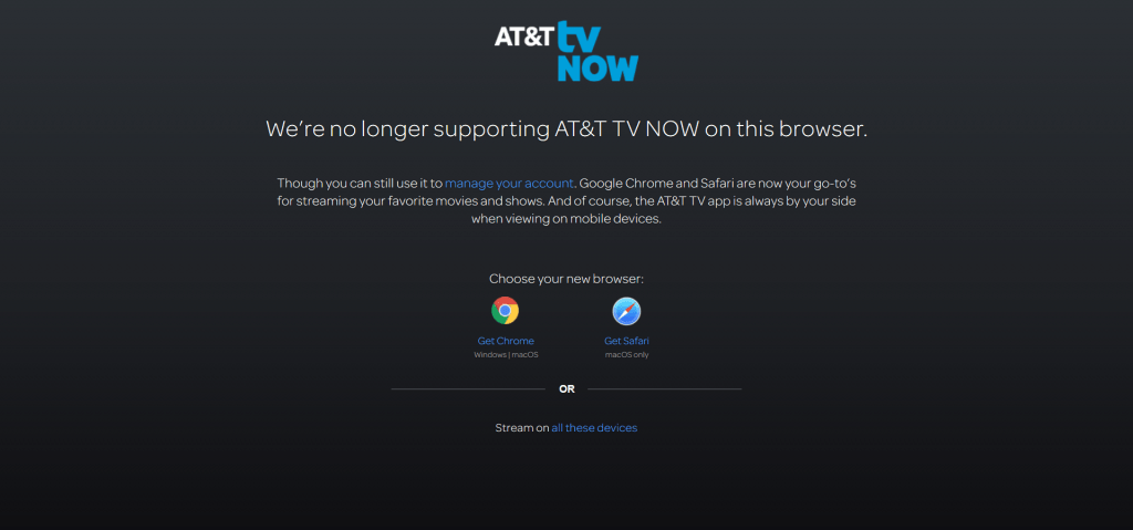 AT&T TV Now review - AT&T TV Now does not support Firefox