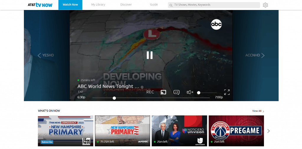 AT&T TV Now review - streaming on AT&T TV Now's in-browser app