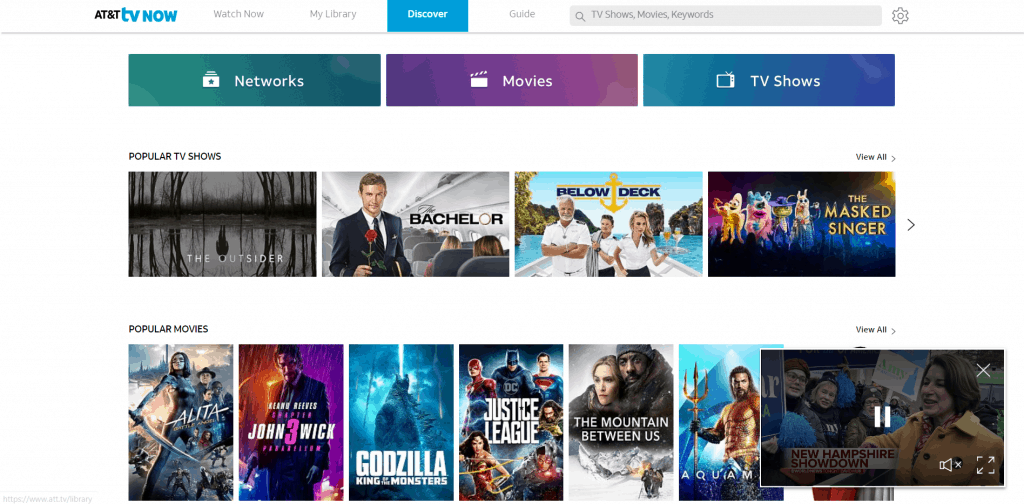 AT&T TV Now review - AT&T TV Now web app screenshort
