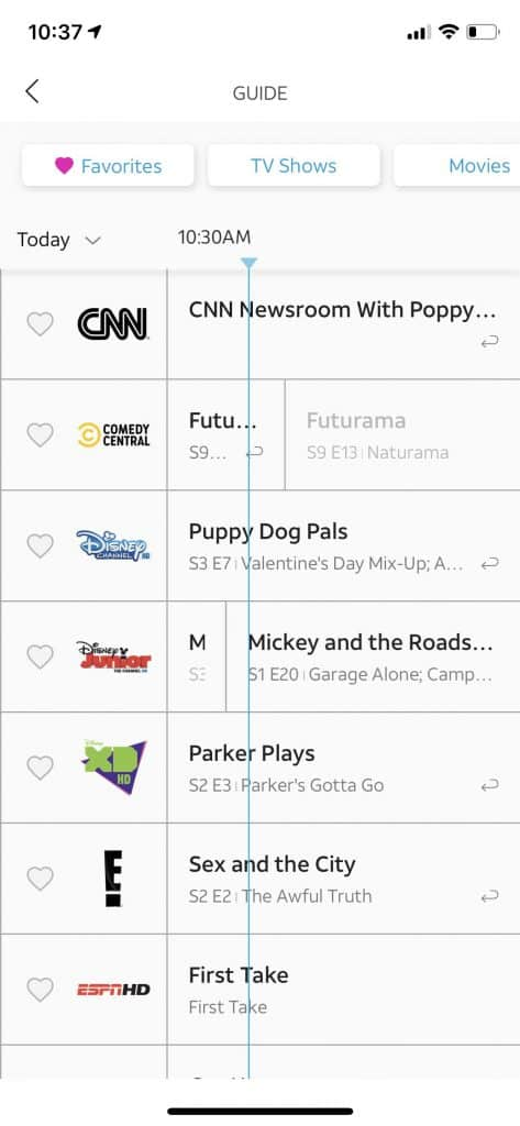 AT&T TV Now review - TV guide view in iOS app