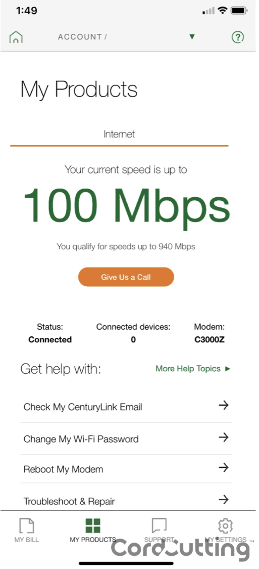 CenturyLink Speed Breakdown
