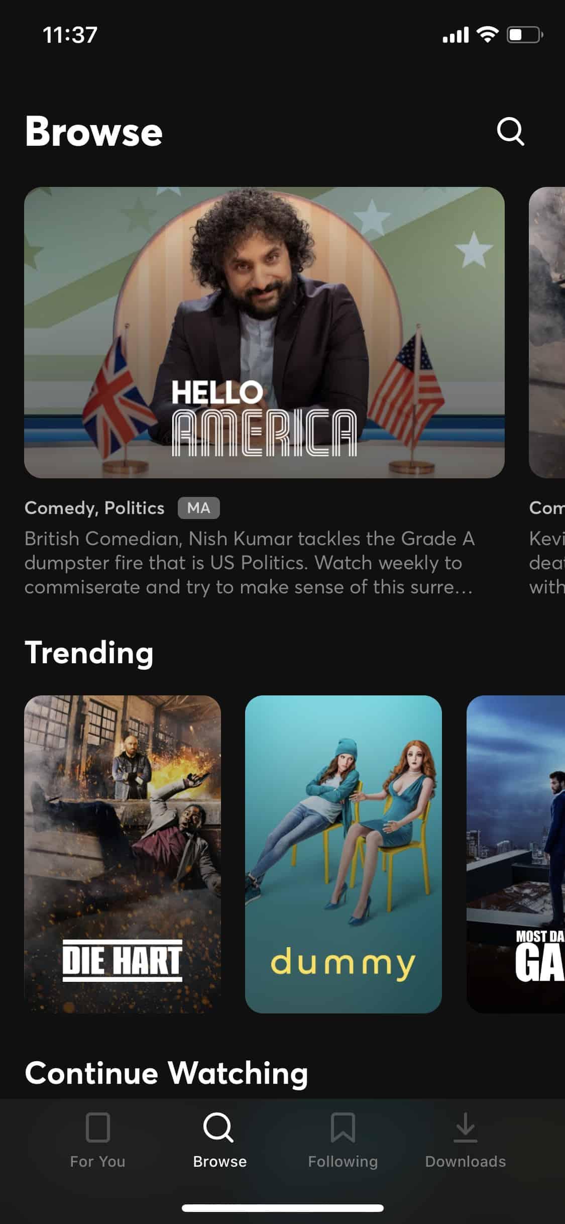 Quibi review - Quibi's app (iOS)