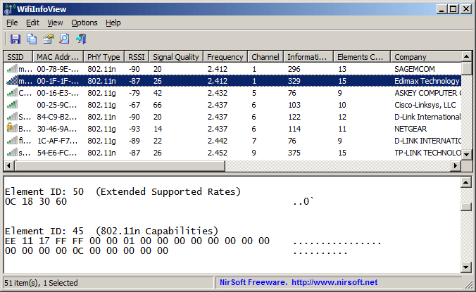 WifiInfoView software interface.