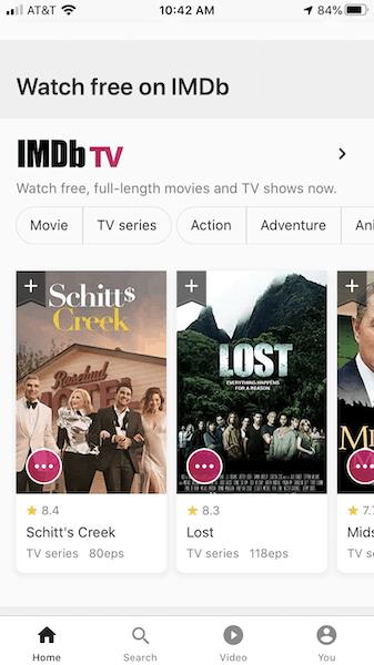 IMDb TV App Homescreen