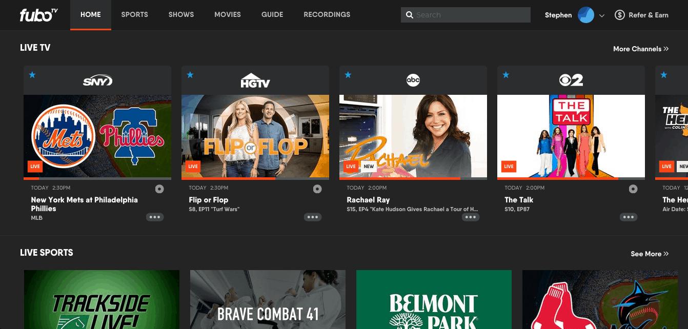 fuboTV - Browser Homepage