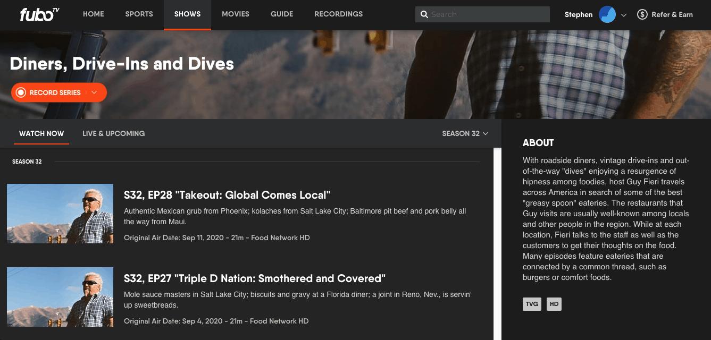 fuboTV - Browser Show Page