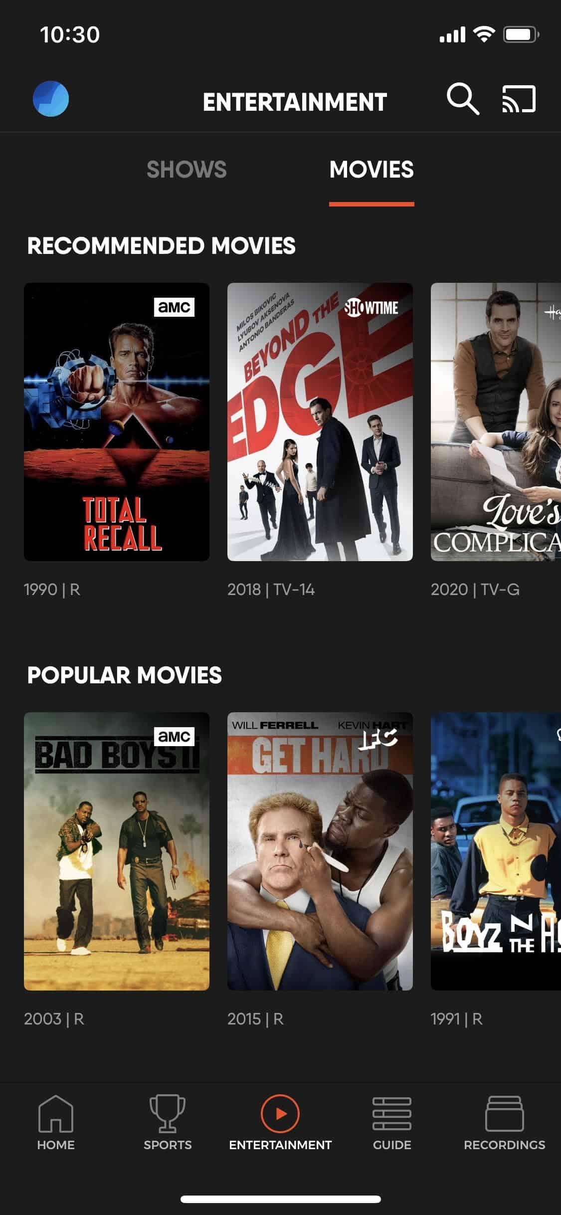 fuboTV - iOS on demand menu movies