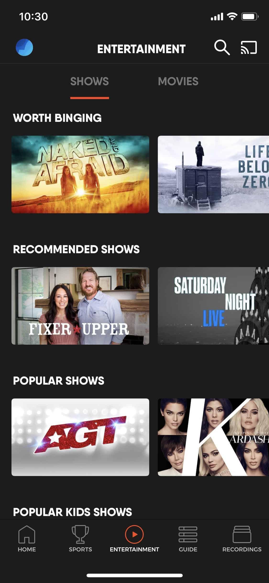 fuboTV - iOS On Demand Menu Shows