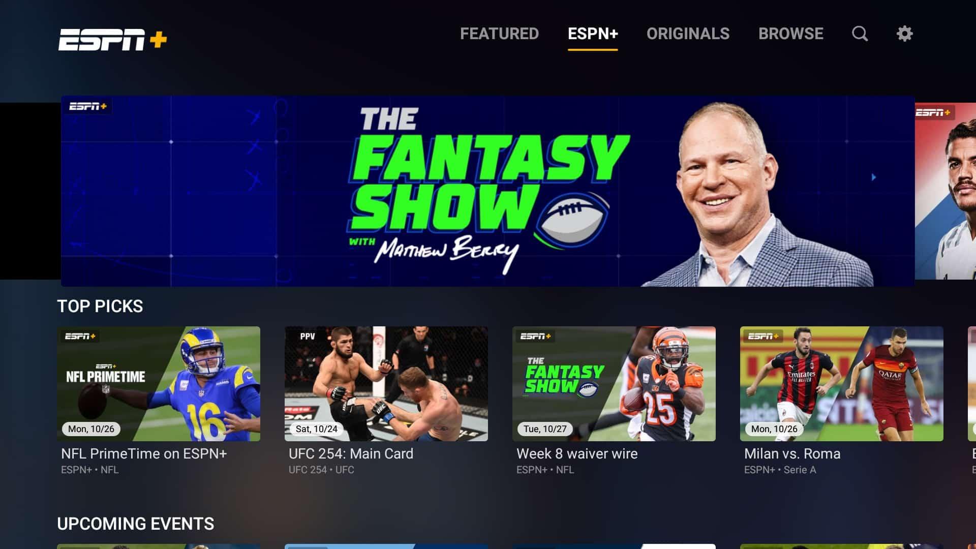 ESPN+ in the web app.