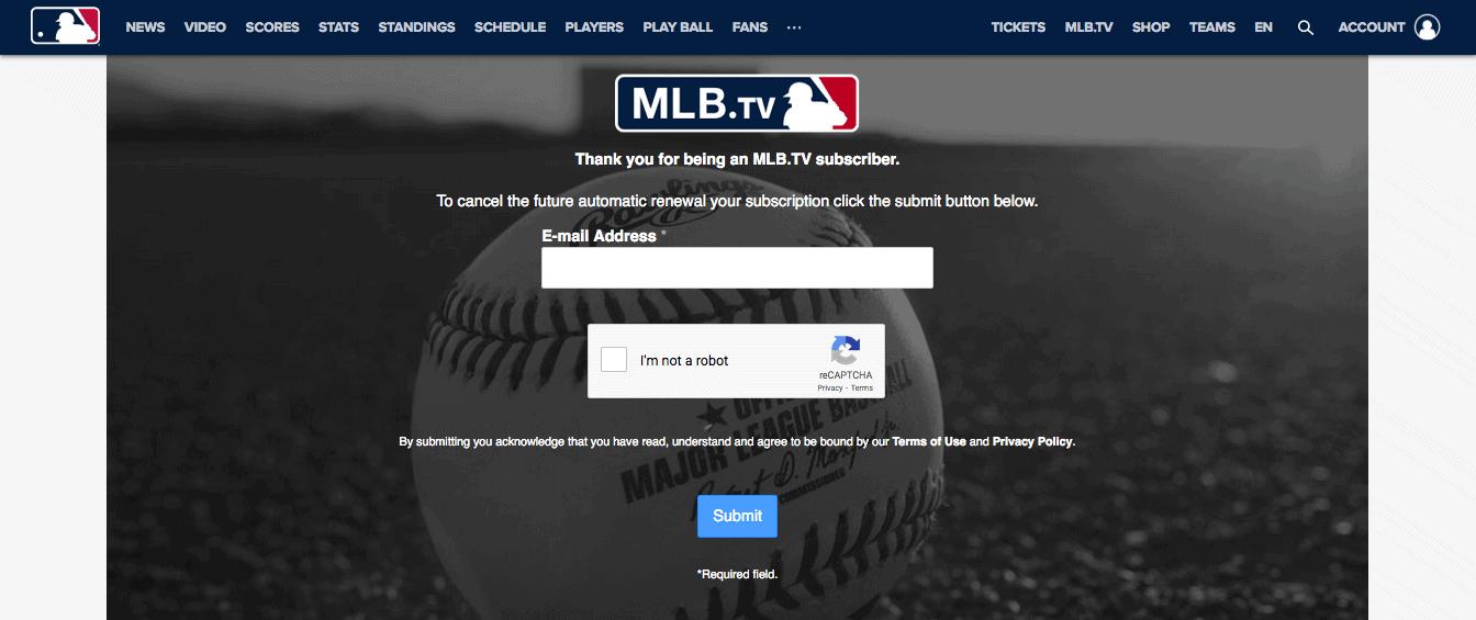 MLB TV - Confirm Cancellation