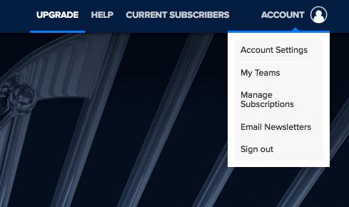 MLB TV - drop-down menu