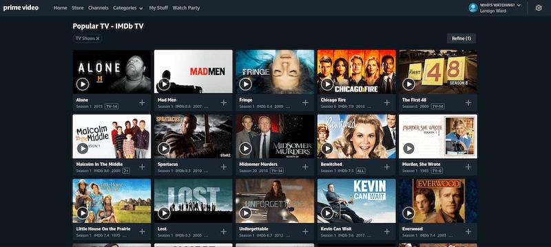 IMDb TV Content on Amazon Prime