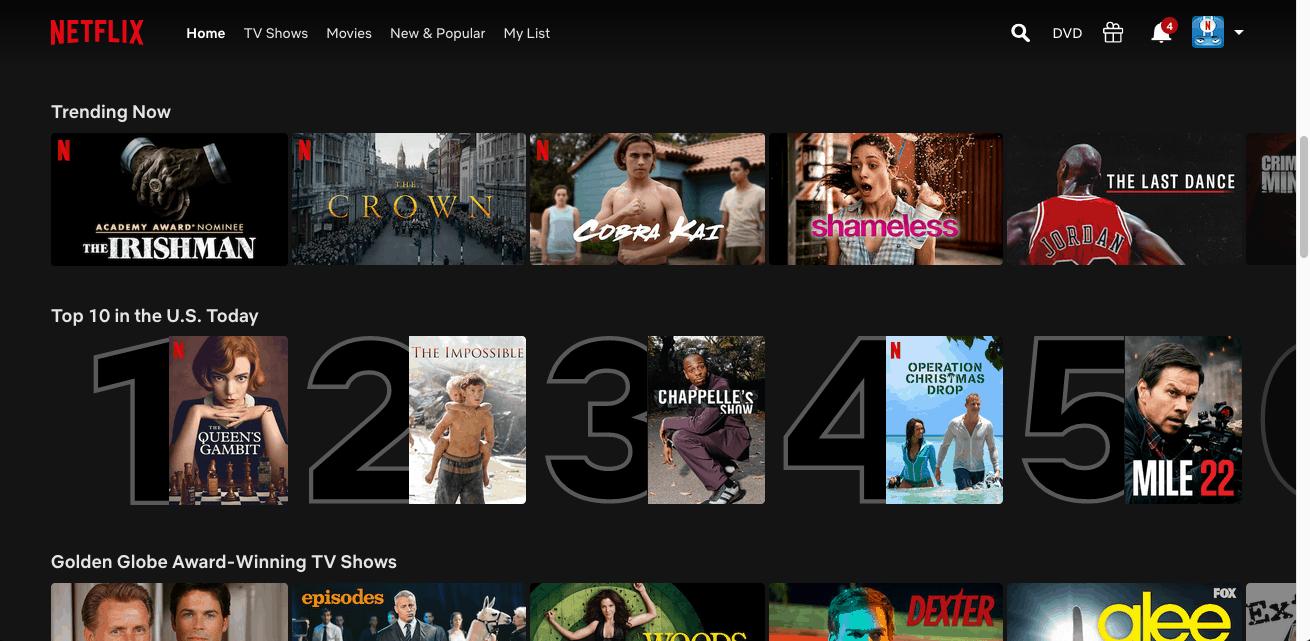 Netflix - Web homepage
