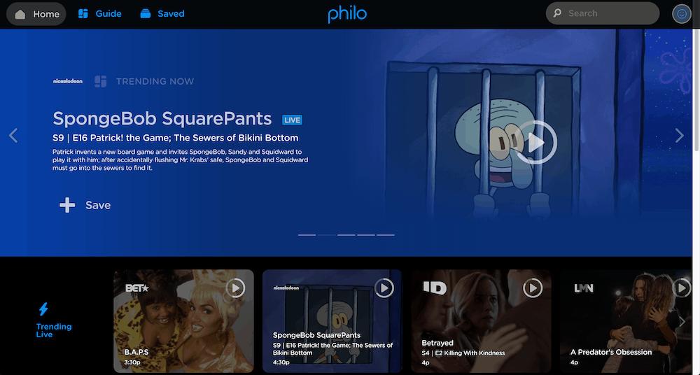 Philo Homescreen