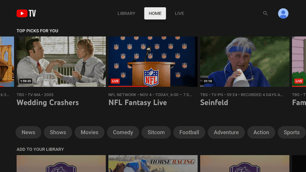 Youtube TV Home page