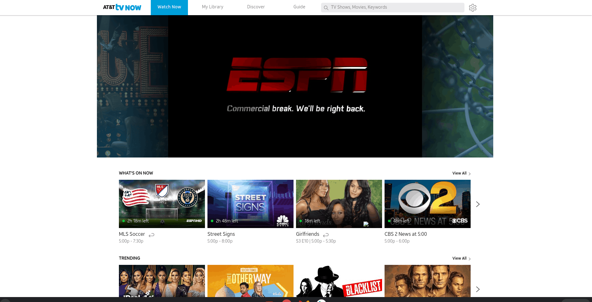 AT&T TV Now Homepage