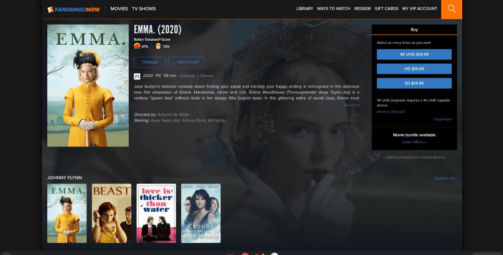 Watching Emma on FandangoNow