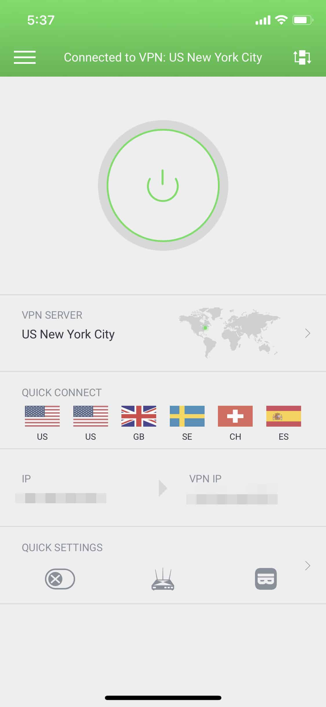 Connected to Private Internet Access VPN