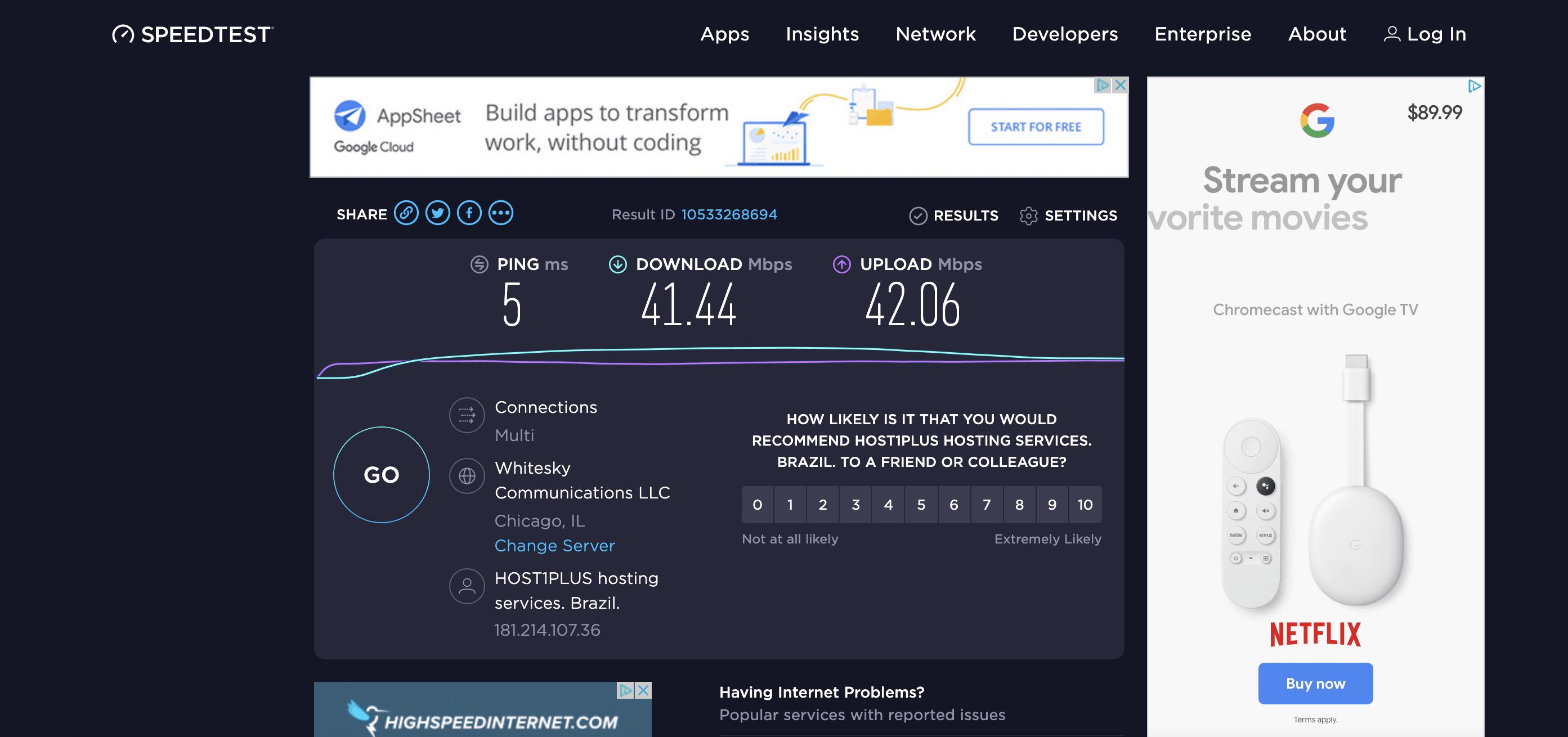 HMA VPN Speed Test - Connected