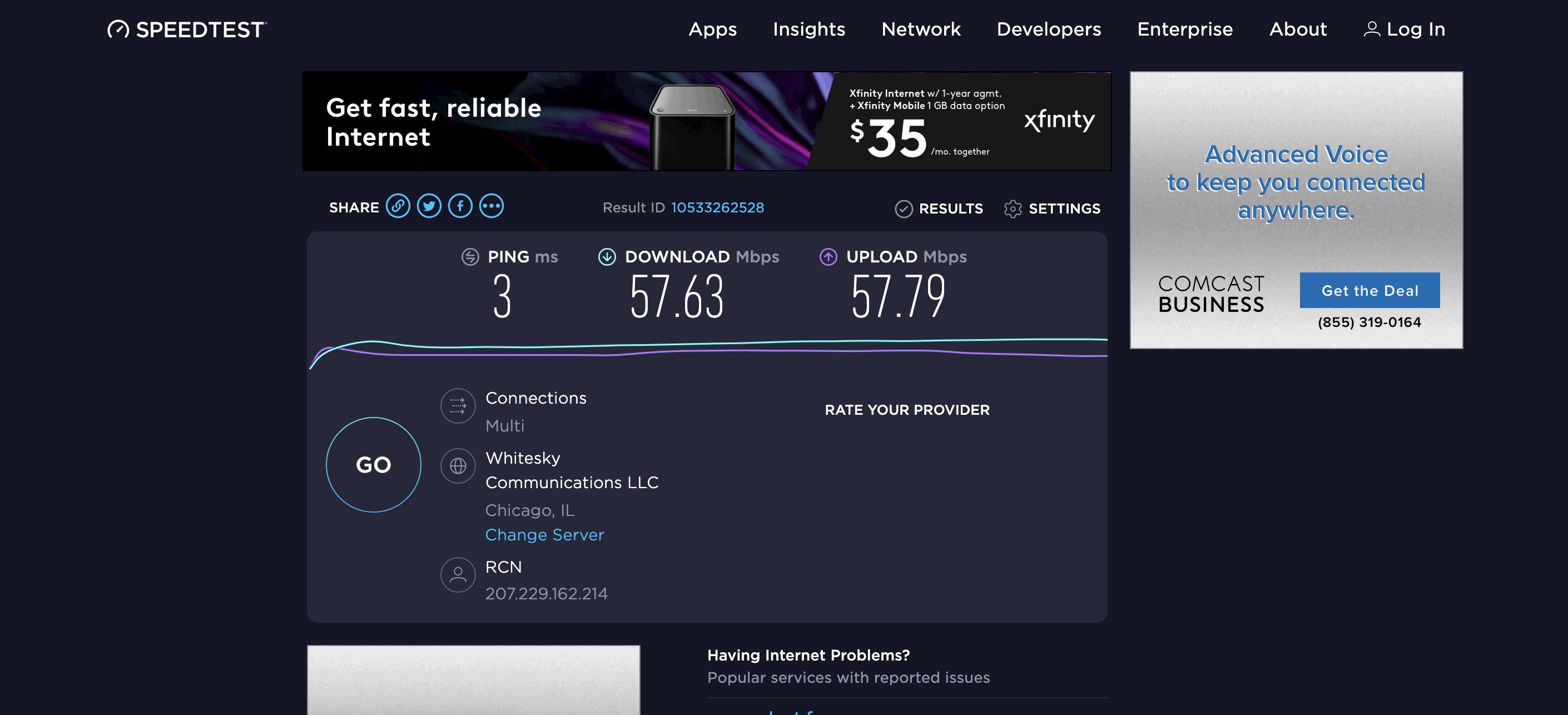 HMA VPN Speed Test - Not Connected
