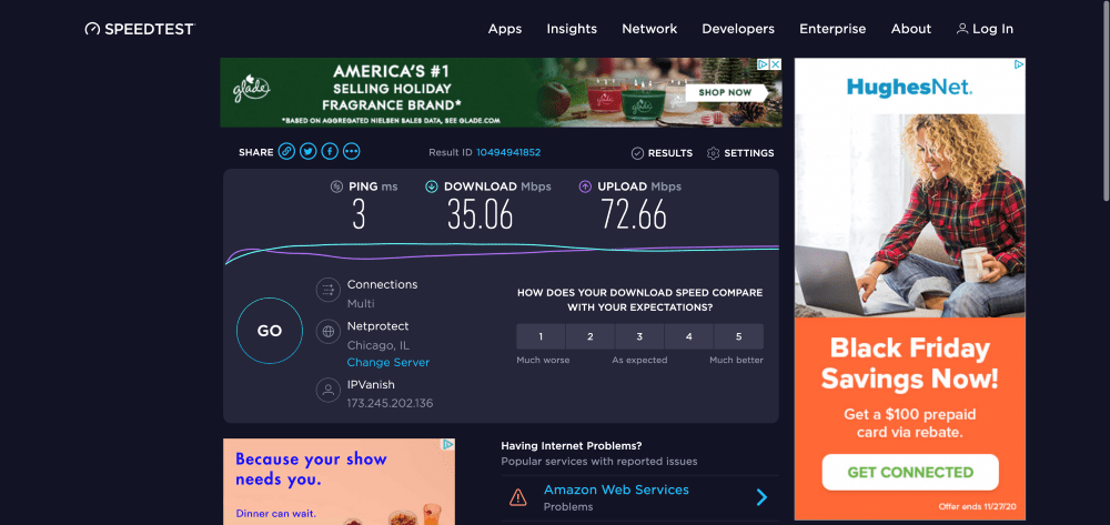My speed test with IPVanish connected to the fastest server (United States)