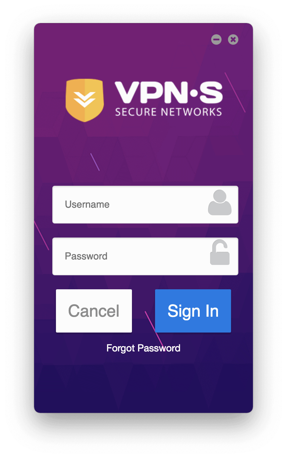 Logging into VPNSecure