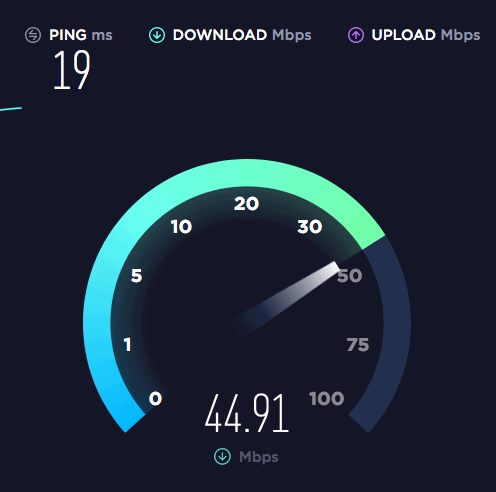 Private Internet Access VPN Speed Test - Not Connected
