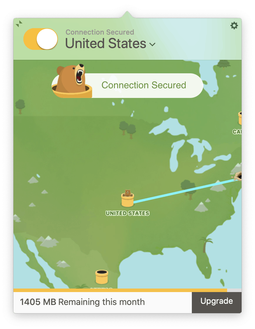 Tunnelbear VPN - Connection Secured